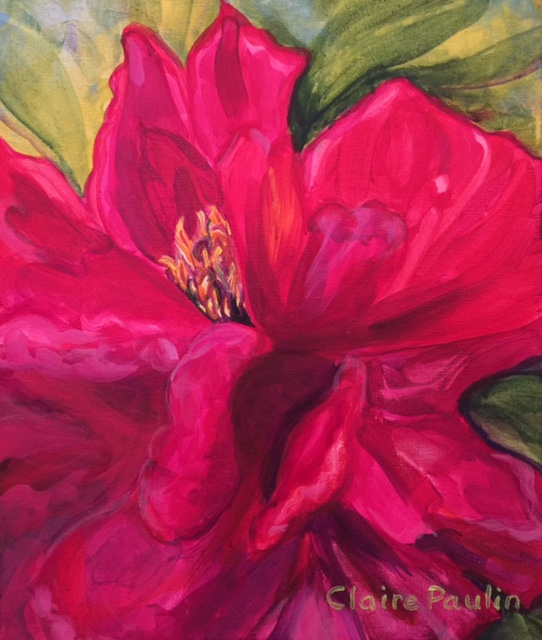 PEONIES SERIES #8   ACRYLIC ON CANVAS  20″ X 16″