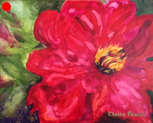 PEONIES SERIES #7   ACRYLIC ON CANVAS  16″ X 20″