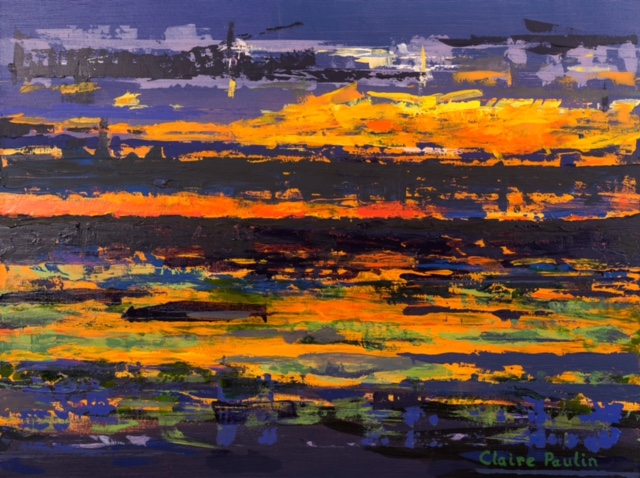 MIDNIGHT SUNSET IN THE CANADIAN ARCTIC #3   ACRYLIC ON CANVAS  36″X48″)
