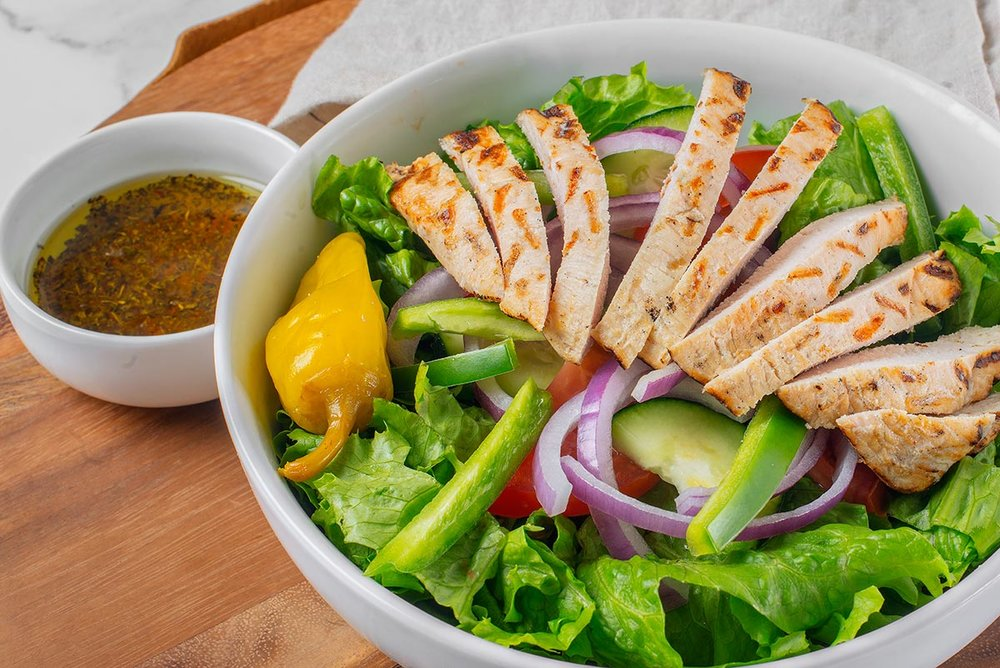 Garden Salad with grilled chicken with house made olive oil & vinegar dressing