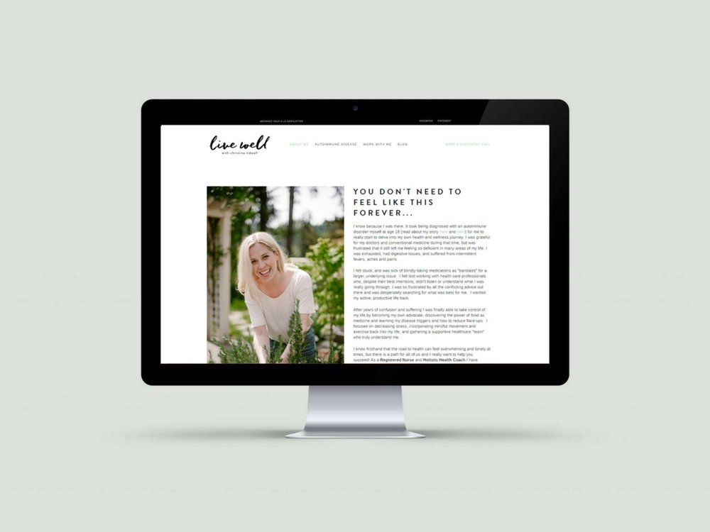Squarespace Website & Branding | Live Well With Christina Tidwell | Nourished Design
