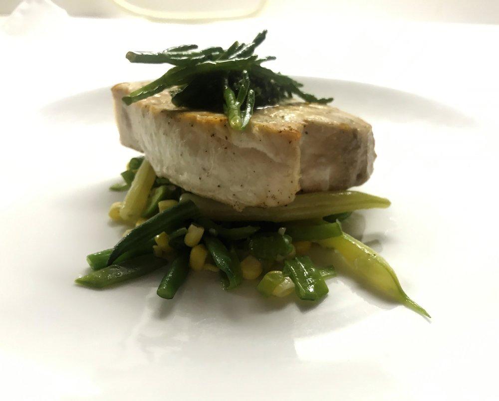 grilled swordfish, succotash.JPG