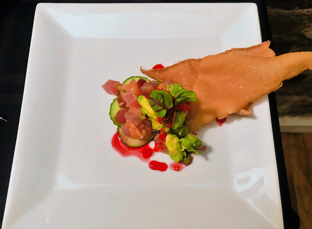 Salmon & Tuna tartare, blood orange reduction, tobiko, avocado.JPG
