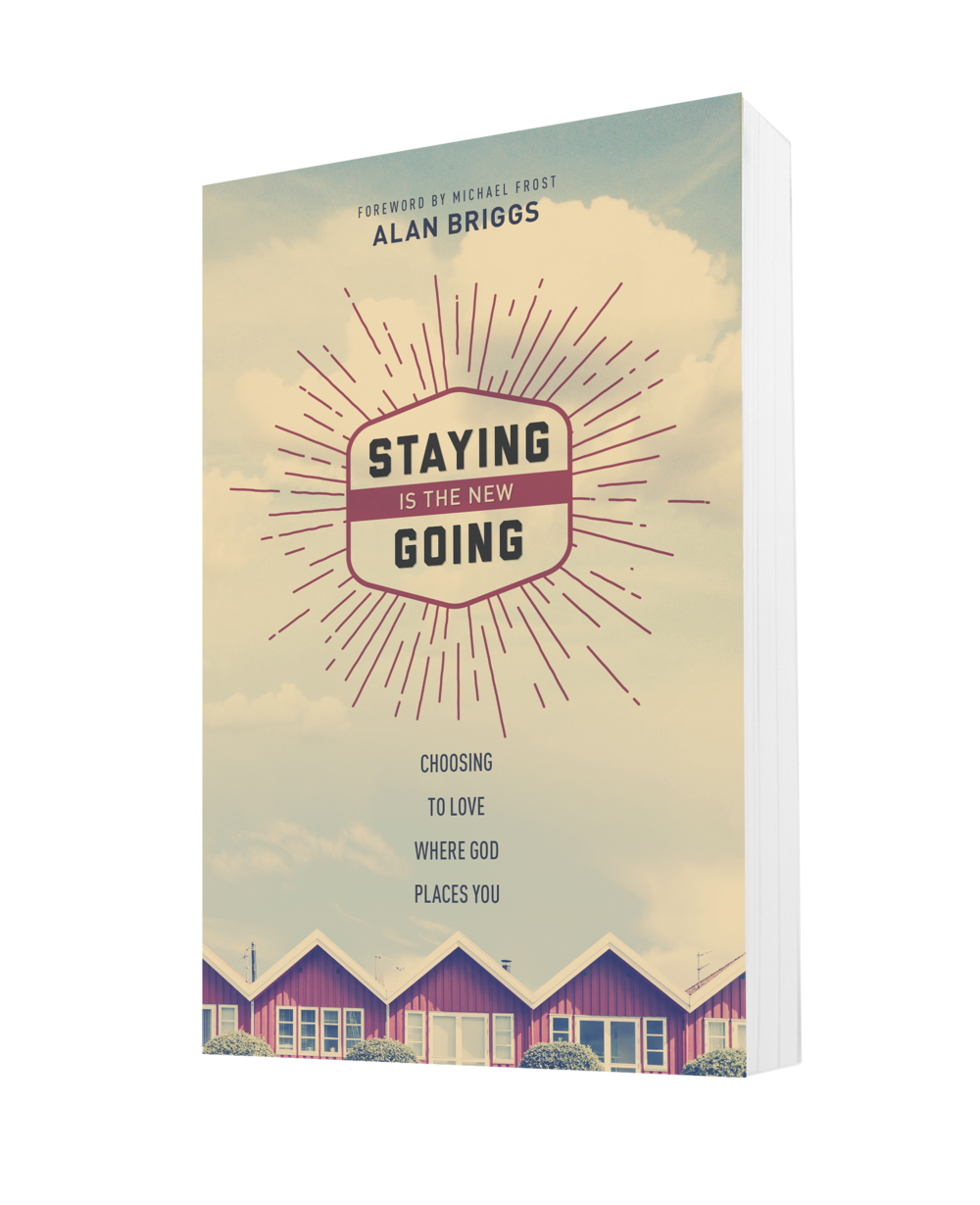 "Staying is the New Going by Alan Briggs - For too long we've outsourced God's work in the world to missionaries ""out there"" at the ends of the earth. In reality, God wants us to love our neighbor right next door. He wants us to pray for the welfare of our zip code, to witness to the world outside our window. He wants us to be the church, the people of God, in conversation and meaningful engagement with the people God loves outside the walls of the church.The stories in this book will change the way you look at your city and provide insights into how you can be an authentic Christian."