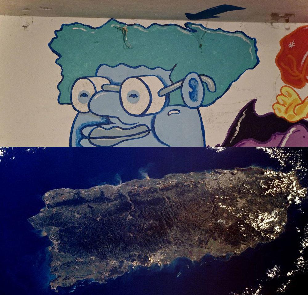 Es casi imposible distinguir cual es el real y cual es el del mural.