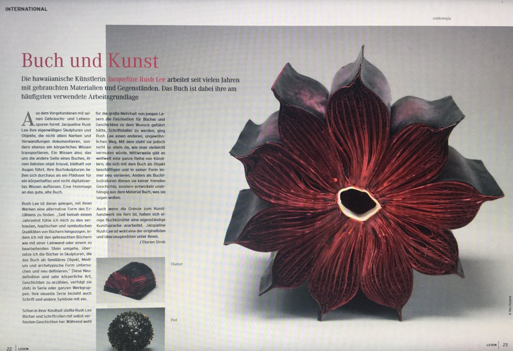 "http://issuu.com/sn-online/docs/sn-lesen__okt2010/1      Lesen Magazine | Feature Article JACQUELINE RUSH LEE  ""Buch Und Kunst""       by Florian Strob Pps. 22, 23.  [ANTHOLOGIA featured above]"