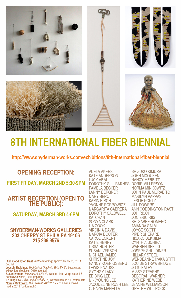 8th International Fiber Biennial, PA, 2012. Snyderman-Works Galleries, PA    I was invited to participate in both biennials, in which   Snyderman Works     represented my artwork for a while. Lorem Ipsum II was featured in this exhibition. I was also featured in the   7th Biennial,   in which I showcased 3 artworks. Curators: Frank Snyderman and Bruce Hoffman