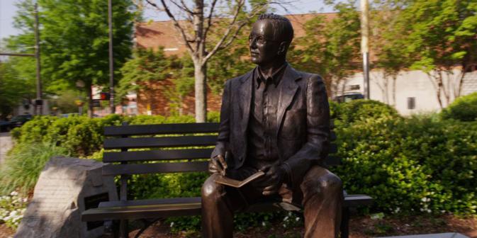 Dr. Charles Townes statue at Falls Park