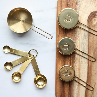 Gold Measuring Cups and Spoons