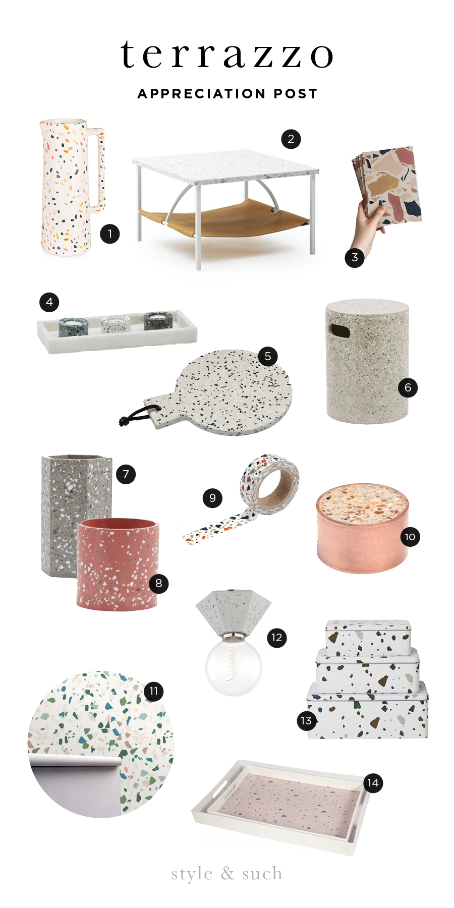 1. Pitcher  |  2. Coffee Table  |  3. Notebooks  |  4. Candle Set  |  5. Board  |  6. Pedastel Stool  |  7. Tall Geometric Pot  |  8. Small Pot  |  9. Washi Tape  |  10. Paperweight  |  11. Wallpaper  |  12. Flush Mount Light  |  13. Metal Storage Boxes  |  14. Serving Tray Set