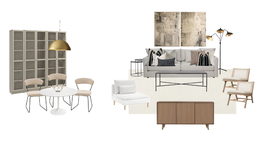 Display Cabinets     Dining Chairs (similar)     Table (similar)     White Chair     Coffee Table (Mine is currently sold out, but here is a similar one)     Nesting Side Tables     Sideboard/Media Unit     Cane Chairs     Floor Lamp     Sofa     Wall Art was DIY but here is some similar (and better) art