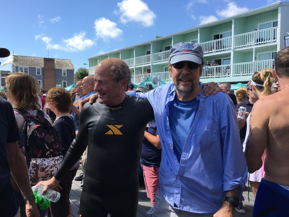 With Jim, champion fundraiser for the Swim for Life, Provincetown, 2017