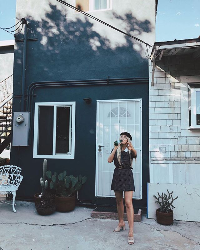 I'm really into hydration.  Here's me drinking fancy water outside our little LA home 🌵
