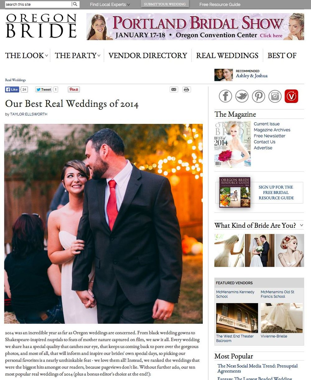 Leah Flores 'Best Real Wedding' for Oregon Bride