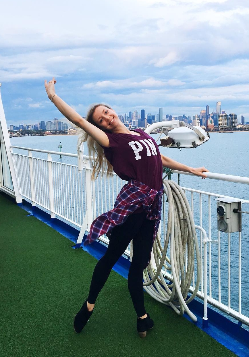 Emma on board Spirit of Tasmania for Melbourne City Ballet's inaugural tour to Tasmania