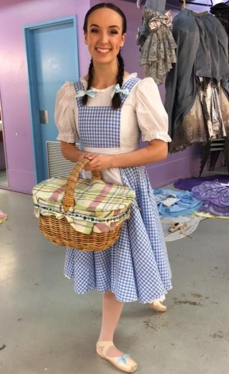 Ariana as Dorothy, backstage on Melbourne City Ballet's  The Wonderful Wizard of Oz  tour.