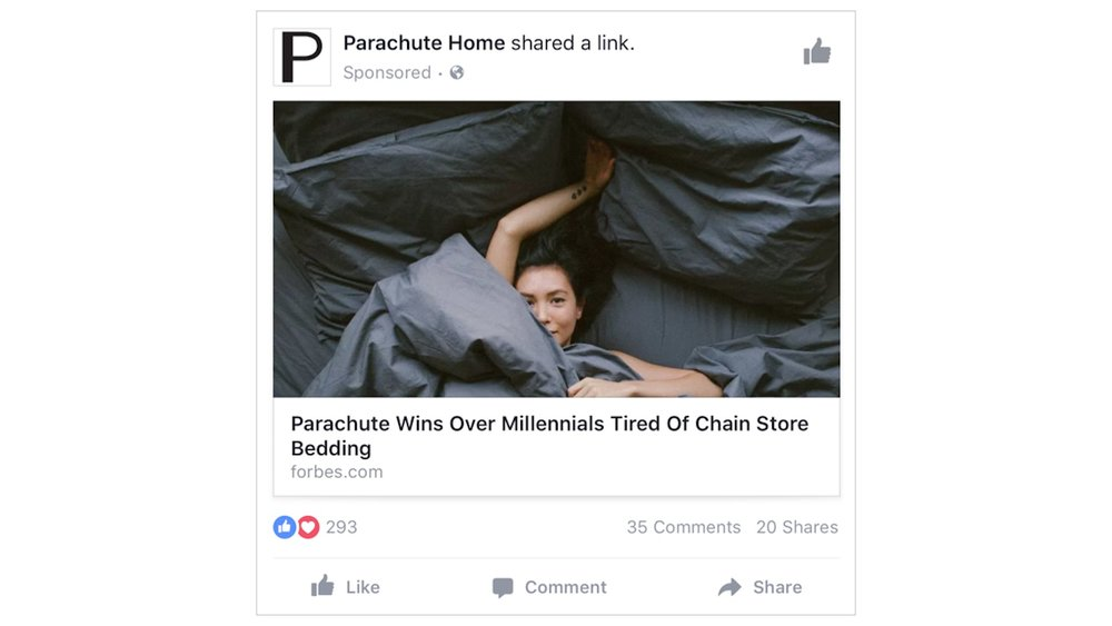 Parachute Home using FB Sponsored Posts to promote Forbes Coverage of their Linens