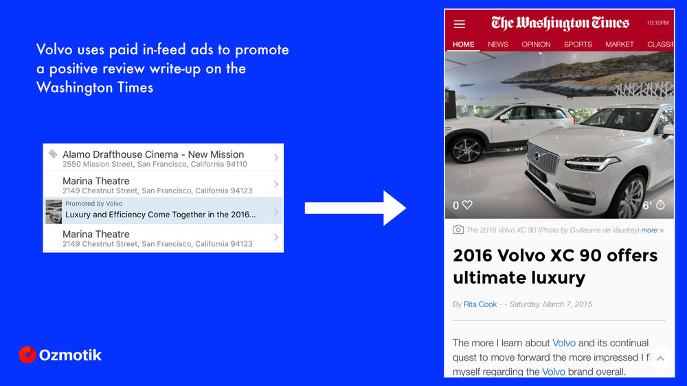 Volvo uses in-feed ads to extend the reach of their car reviews and target prospective buyers