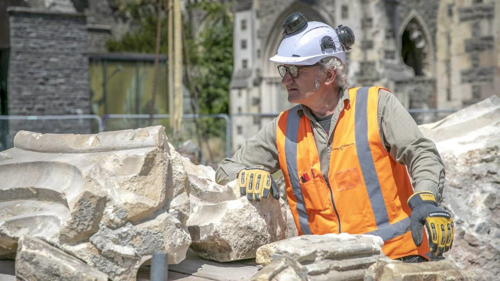 Stonemason Mark Whyte from Goldfield Stone has sorted through about 300 pieces of rubble from the front of the Christ Church Cathedral.  Compliments of stuff.co.nz