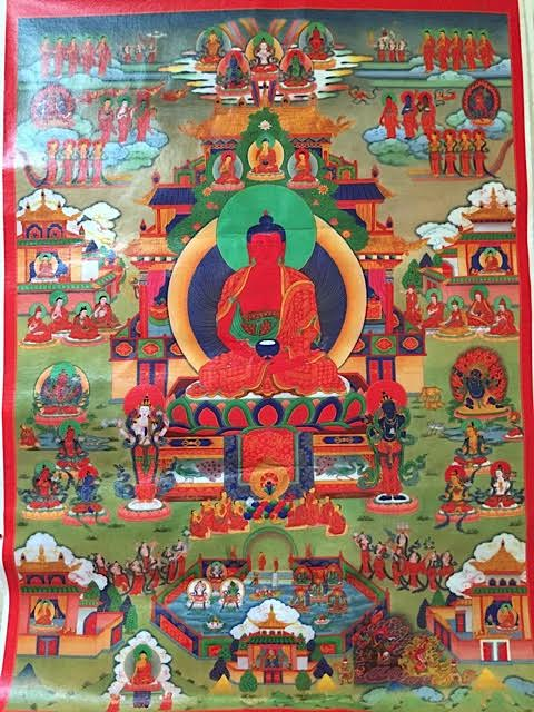 "Thangka on canvas, 21"" x 30"" unframed"