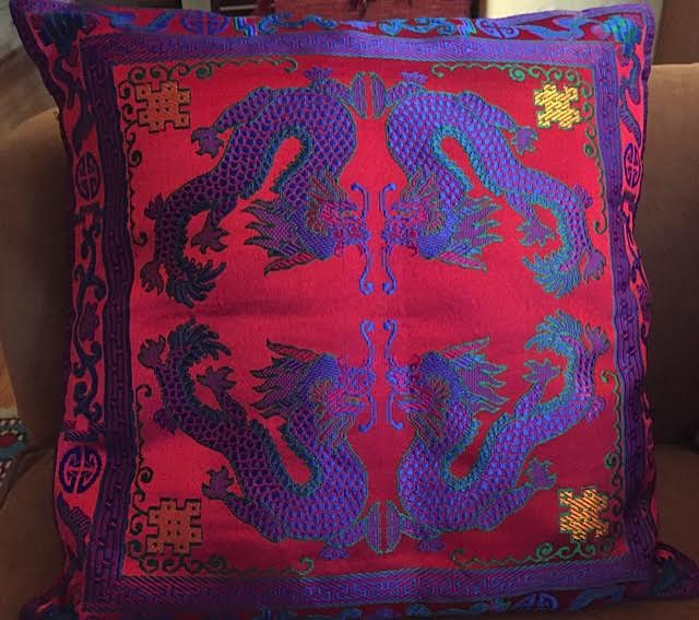 "Embroidered silk pillow, 16"" x 16"""