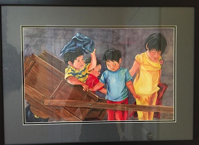 Watercolor of Tibetan children, 2' x 2.5', framed