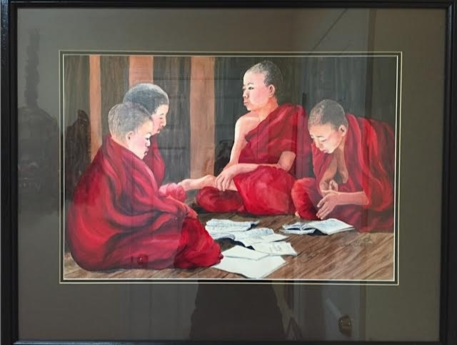 Watercolor of 4 young monks, 2' x 2.5', framed