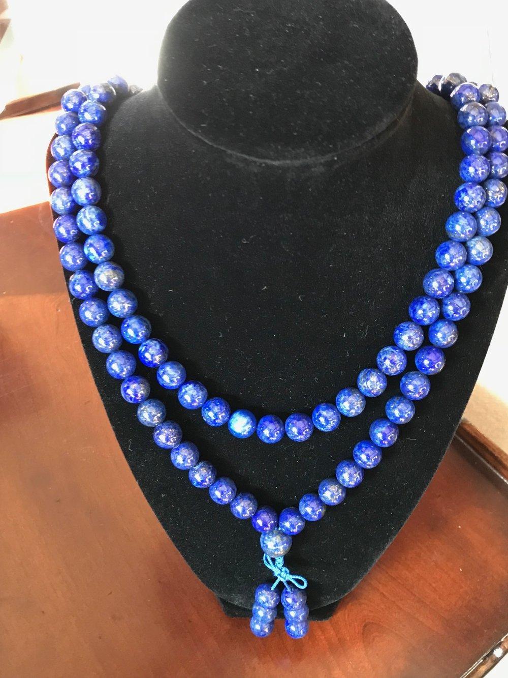 Lapis Lazuli mala necklace, 5mm stones