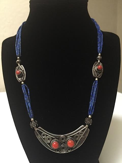 9 inch Tibetan necklace with blue beads, silver and coral