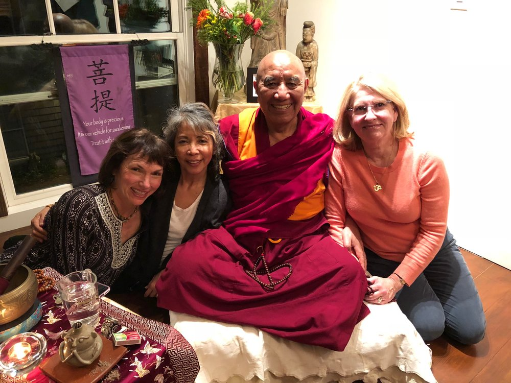 2018 Spring Fundraiser  , Cowper Inn, Palo Alto, CA  Friday, April 13, 2018: Teachings by Khen Rinpoche;   Saturday, April 14, 2018: Gala Dinner with Serge Dautricourt, violin and viola  Sunday, April 15, 2018:  Silent Auction    Pictured above with KHEN RINPOCHE, from left: Deborah DeFilippo, past PLTLP Board Member, Joji Santos, current Board Member, and Adrienne Moberly Vilaubi, Executive Director.