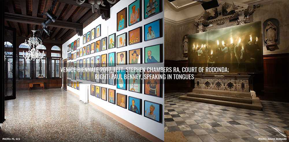 Venice Biennale works including Court of Rodonda by Stephen Chambers and Speaking Tongues by Paul Benney