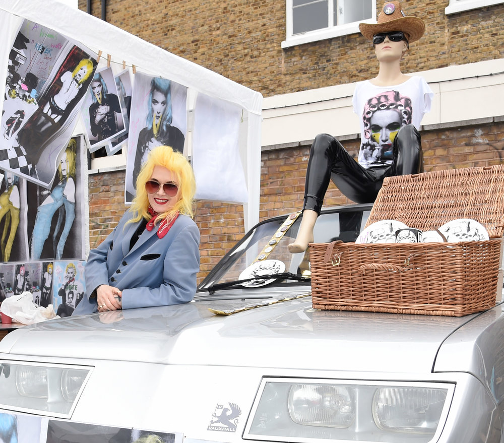 Pam Hogg at the Vauxhall Art Car Boot Fair 2015 on Sunday 14th June 2015 Photo by Dave Benett