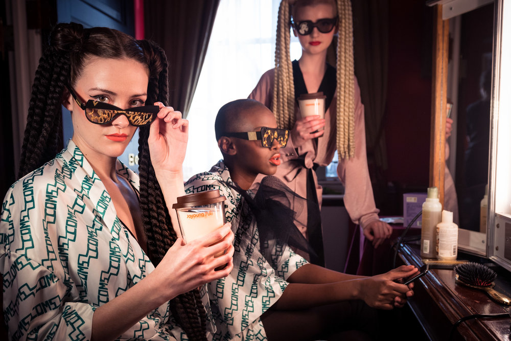 Models wearing VICTOR WONG sunglasses drinking Joyoung soya milk.JPG