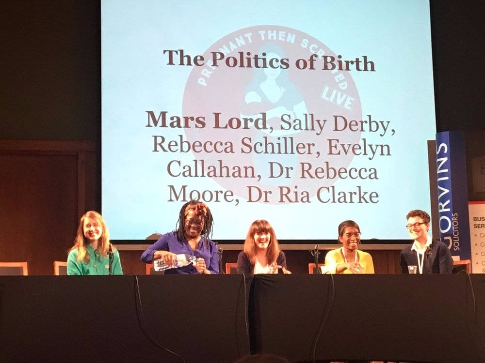 Me, Mars Lord, Sally Derby, Dr Ria Clarke and Evelyn Callahan at Pregnant Then Screwed Live. Photo @nestbirthbeyond