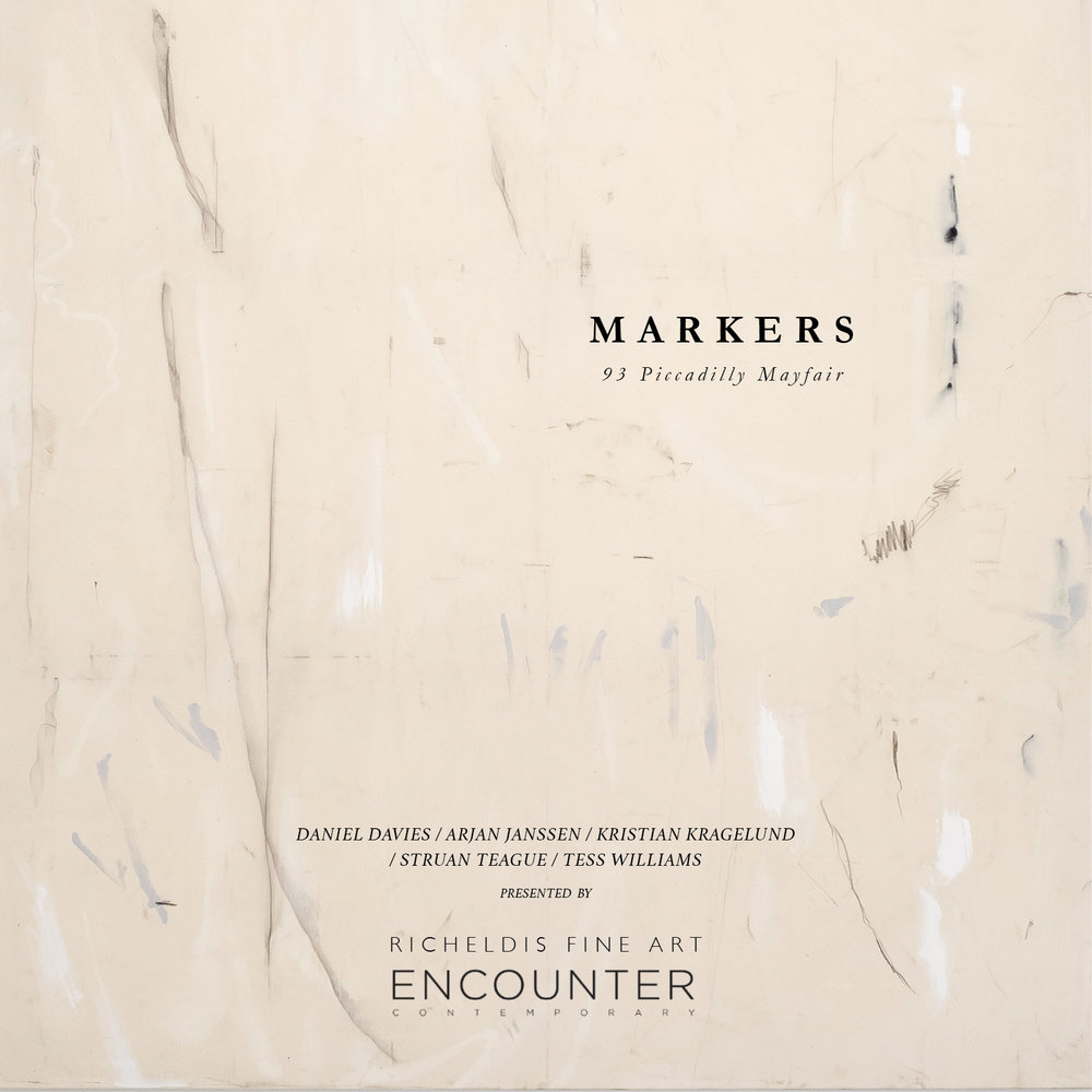 "The Encounter Contemporary and Richeldis Fine Art are pleased to present   'Markers'   ,      a   significant exhibition of contemporary painting, launching on the 11  th   November at 93 Piccadilly, Mayfair.     This compelling curatorial project marks the first collaboration between two of London's leading nomadic galleries and art consultancies. Directors Emma Richeldis North and Alexander Caspari bring together a collection of emerging contemporary painters, each making their mark on the international art scene.     Following individual appearances at notable institutional venues such as Kunsthal Aarhus (Denmark),  Breda's Museum (Netherlands), and Lepsien Art Foundation (Germany),  'Markers'  offers a unique opportunity to view the work of five internationally acclaimed artists at the pivotal moment of their careers.    Not simply the question of 'what', but 'how' to paint has taken on a renewed critical urgency.  'Markers'  brings together a small focussed group of contemporary artists who are carving out distinct visual languages, which self-consciously and playfully reference the weighty history of painting, whilst continuously interrogating new spaces of inquiry emerging on its periphery.  The varied and innovative processes of artistic production each employs have become important sites for critical investigation in themselves. Williams tears and stains un-stretched canvasses before reconstructing them into refined compositions, the result is nuanced works, which in their very materiality complicate the perceived edges of the painterly frame. In his pared back monochromatic studies, Janssen skilfully traverses the intimate line between minimalist composition and expressive mark, creating meditative works that continuously tremble on the edge of movement. After deconstructing found images and patterns through digital printing techniques, Davies then painstakingly refigures them on canvas, a multifaceted process of layering and overlapping, adding and subtracting, which at every step problematises issues of authorship and image-production. Through his use of industrial materials such as tar, fibreglass and acid, Kragelund's striking coded works both preserve and attack the object-hood of painting. And while their raw materiality clearly dialogues a post war European approach to making, their charged conceptual underpinning remains thoroughly rooted in the present. Teague's unique visual language at once consciously and unconsciously addresses issues of painterly process, the minimal yet erratic gestures which drift across his canvasses are precariously balanced in an ambiguous position on the edge of restraint and release.  Despite emerging from fundamentally different creative trajectories, at play in each is a shared sensibility for creating multi-layered objects, which at once disguise and reveal the physical and conceptual labour through which they have come into being. The work scrubs out the pictorial and explores what's left. At the core of the show is a conflicting impulse between accumulation and erasure, a delicate balance between intuitive gesture and deeply considered subject.    ""Markers"" will run from 11th to 21st November. This powerful exhibition marks the coming together of a dynamic group of artists and curators and is certainly not one to miss."