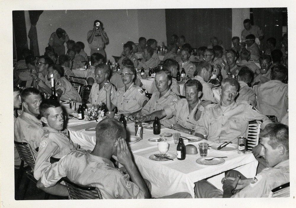 """It was fun, despite everything."" Company party where Colonel Jonas Waern is present. Battalion XII. Colonel Waern was the Commander of the Swedish UN Battalions XII and XIV in the Congo, 1961-1962. He was the Brigade Commander for the Swedish, Indian, and Irish contingent in Southern Katanga, which were a part of the UN peacekeeping forces (ONUC), in the Congo from June 1961 to May 1962."
