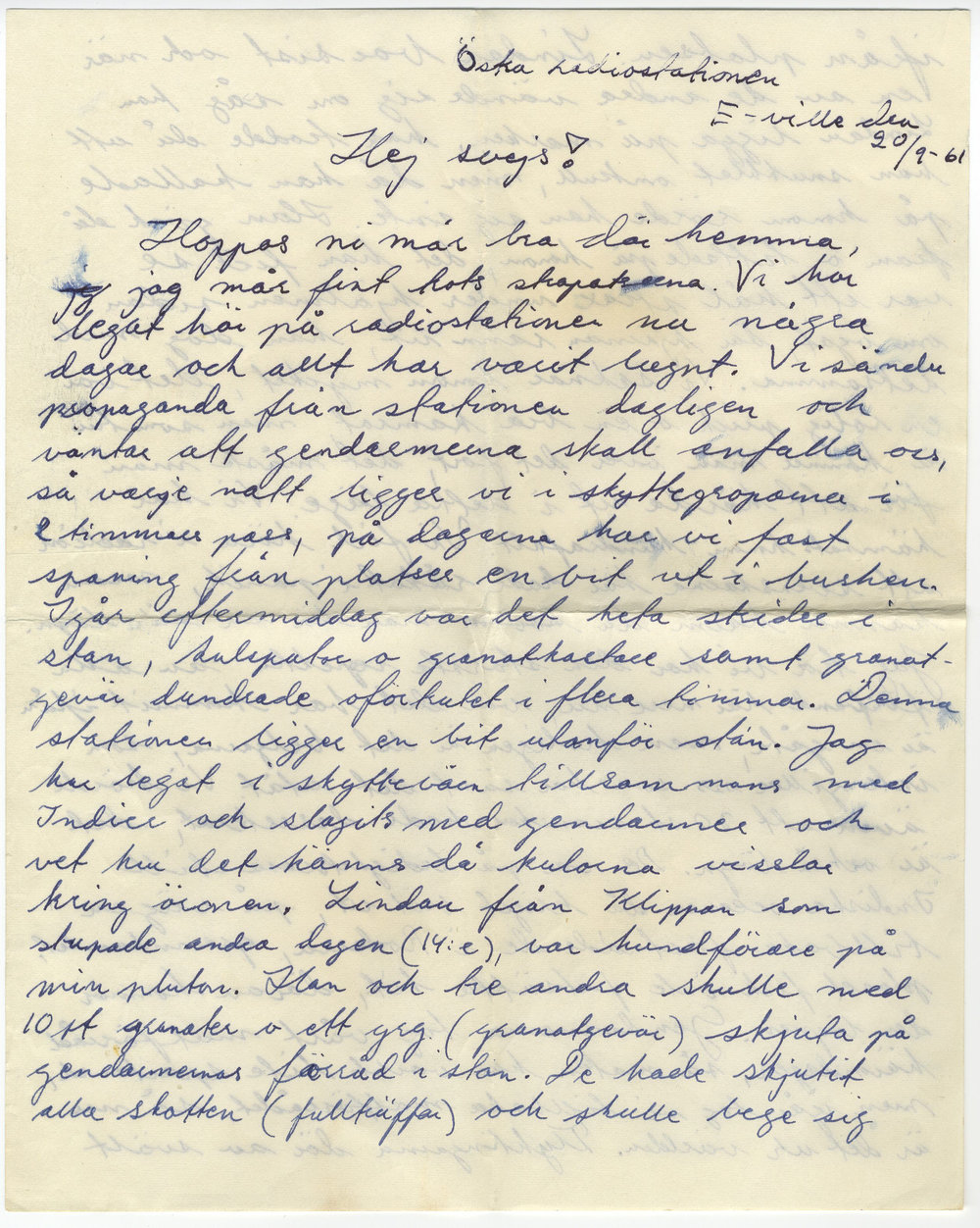 """Sida ur Lars Frosts brev till sin mamma. Élisabetville den 20/9 1961. I brevet omtalas soldaten Bengt Göran Lindau som stupade den 14/9 1961: """" Vi saknar honom mycket, det en rolig prick o en bra kamrat, men som tur är kommer man över det fort, det måste man för att härda ut i detta läge""""."""