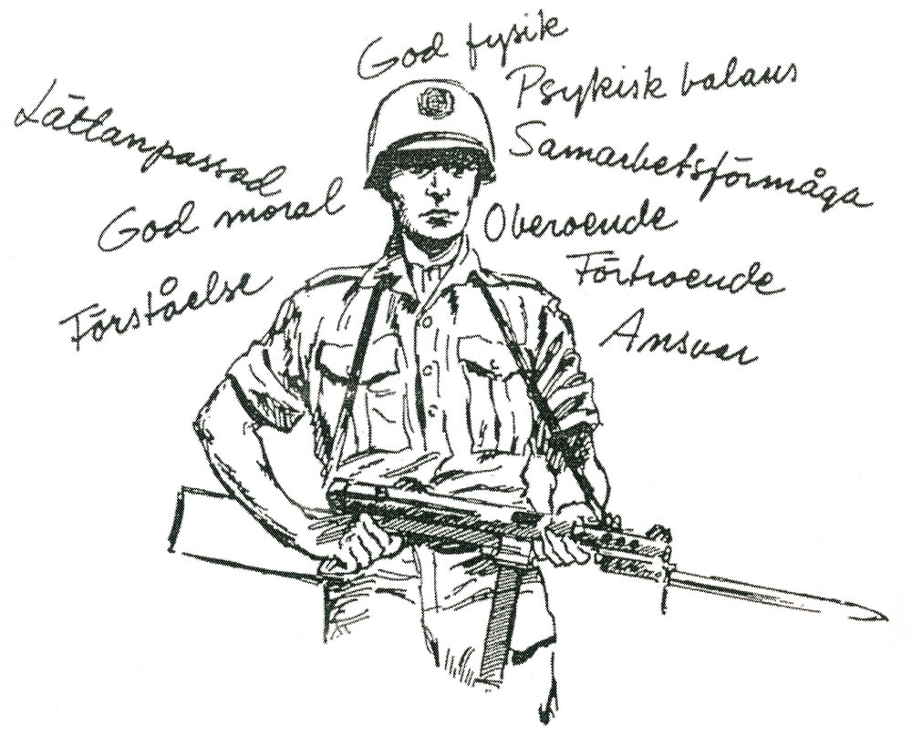 The expected qualities of a Swedish UN soldier. The qualities are in line with the values of our time. From: Instruction for the Conduct of Swedish Contingents in Tropical Circumstances. The Army Staff. Stockholm, 1960, pg. 9.