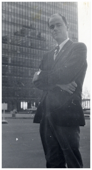 Stig von Bayer outside the UN building in New York