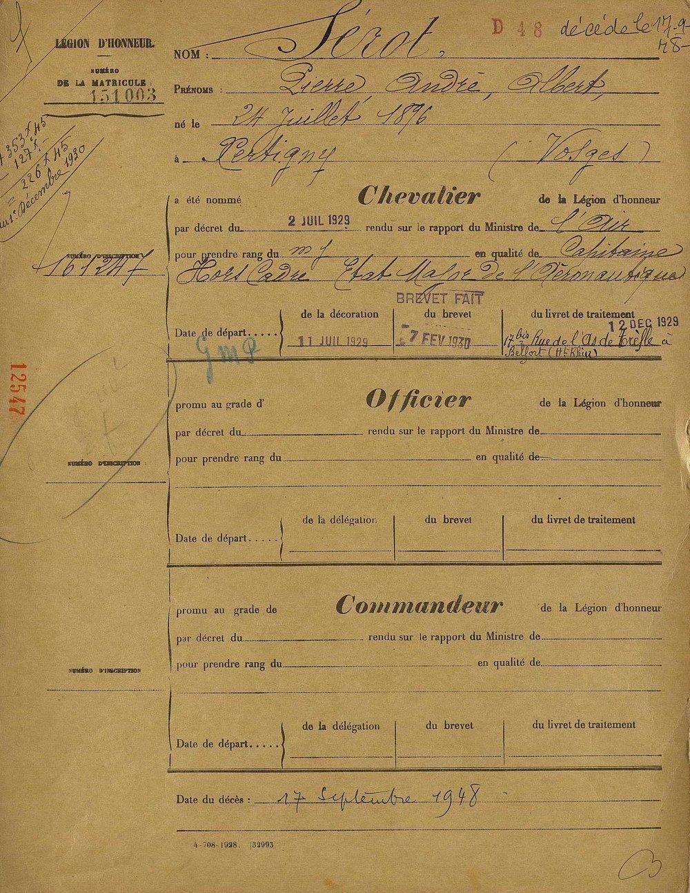Registerkort hos franska Hederslegionen över André Sérot