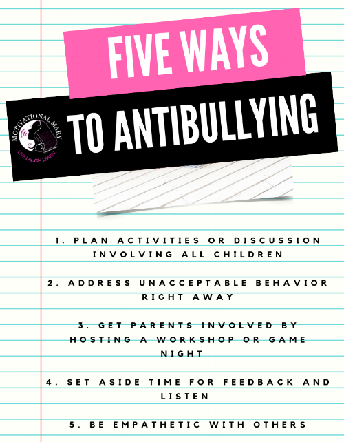 """This is a great way to start talking about anti bullying. You'll be surprised at how many people don't know where to start until it's too late. My motto is  """"Bullying may not have happen to you or your child, but if it's in your neighborhood it's close enough to affect you; so do your part!""""  Also keep this in your back pocket to  """"Not repay anyone evil for evil. Be careful to do what is right in the eyes of everyone."""" Romans 12:17.  Now it's challenging to not get back at others when they have done you wrong, but think about the end result of everything before you react."""