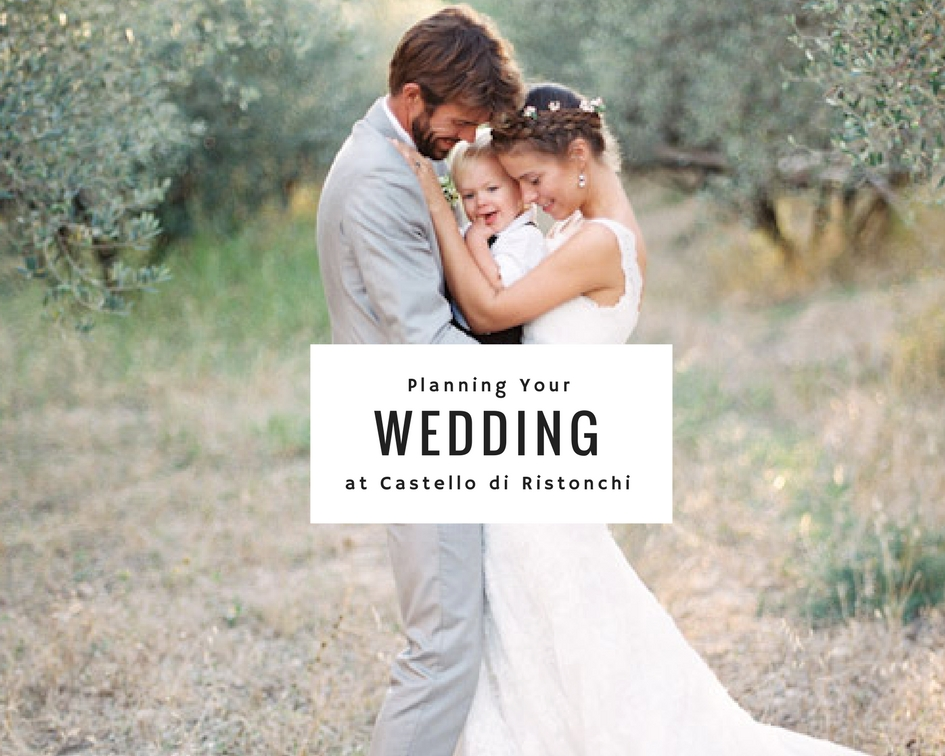 Ceremony and Reception Locations:  Olive Grove: 500€ Chapel: 200€ Terrace: 300€ Grass Field: 300€ Party Room: 300€ Pool: 100€/hour   Chair Rental including Set-up:  Variety of wooden vintage chairs: 5€ per chair Uniform Chairs:   Decor  Arch Rental and Set-up: 200€ Ivory Draping on arch: 50€ Ivory Draping on tree: 100€ Antique Chandelier: 50€ Bohemian Rugs:: 30-50€ each Candles in Glass Jars: 20€ each Rustic Tassel Garland:100€ Fairy Lights in Olive Trees: 25€ each   Bistro Lights:  Price includes rental and set-up. Terrace: 300€ Fattoria Courtyard: 400€ Olive Grove: 450€ Pool: 400€   Table Decor Price per Table  Olive branches and Candles:10€ Add on.... Ivory Cloth Table Runner:8€ Rolled and tied white linen napkins with olive branch or rosemary sprig:12€ Roses:10€ Lemons:5€ Linen Table Cover: 10€ Wooden Place Card Holders: 5€ Handwritten Place Cards: 20€   Table Favors Price per Piece   Ristonchi Olive Oil Bottle tied with branch 7€ Ristonchi Olive Oil Tin tied with branch 10€ Mini Prosecco Bottles 5€ Mini Limoncello Bottles 6€ Biscotti in a Bag 5€   Dance Party  Speaker System: Color Party Lights:10€ each Disco Mirror Ball: