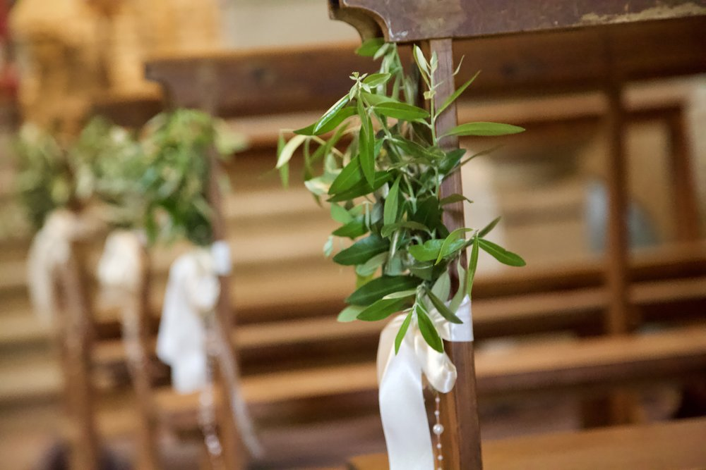 Olive Branch Decor for a church wedding in Italy