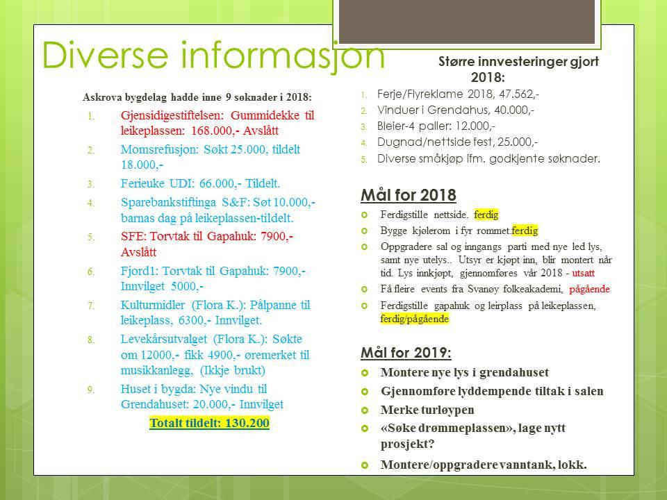 Diverse informasjon/innvisteringer