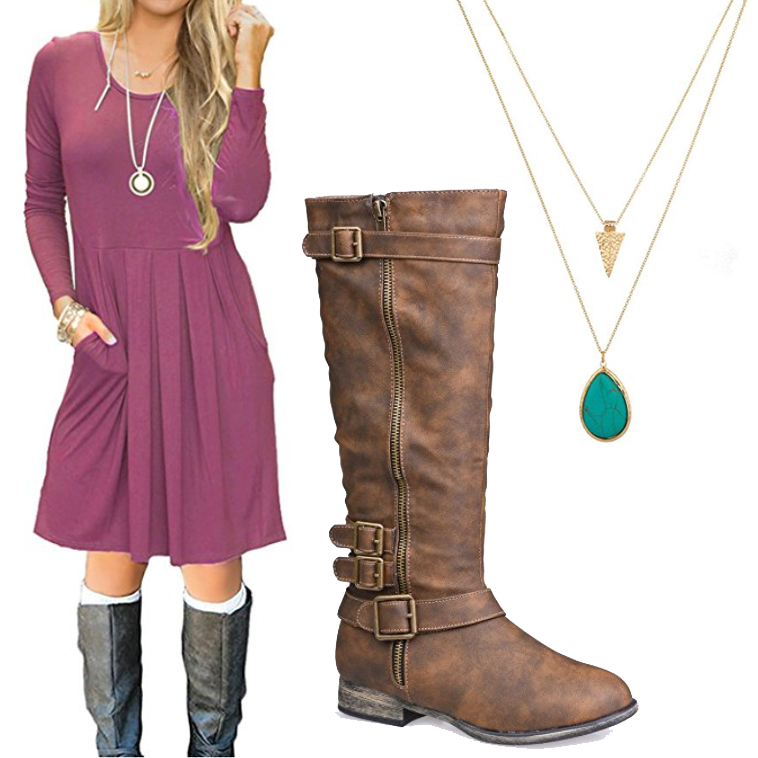 Rock a casual look for your engagement photo session with a cute dress and boots.