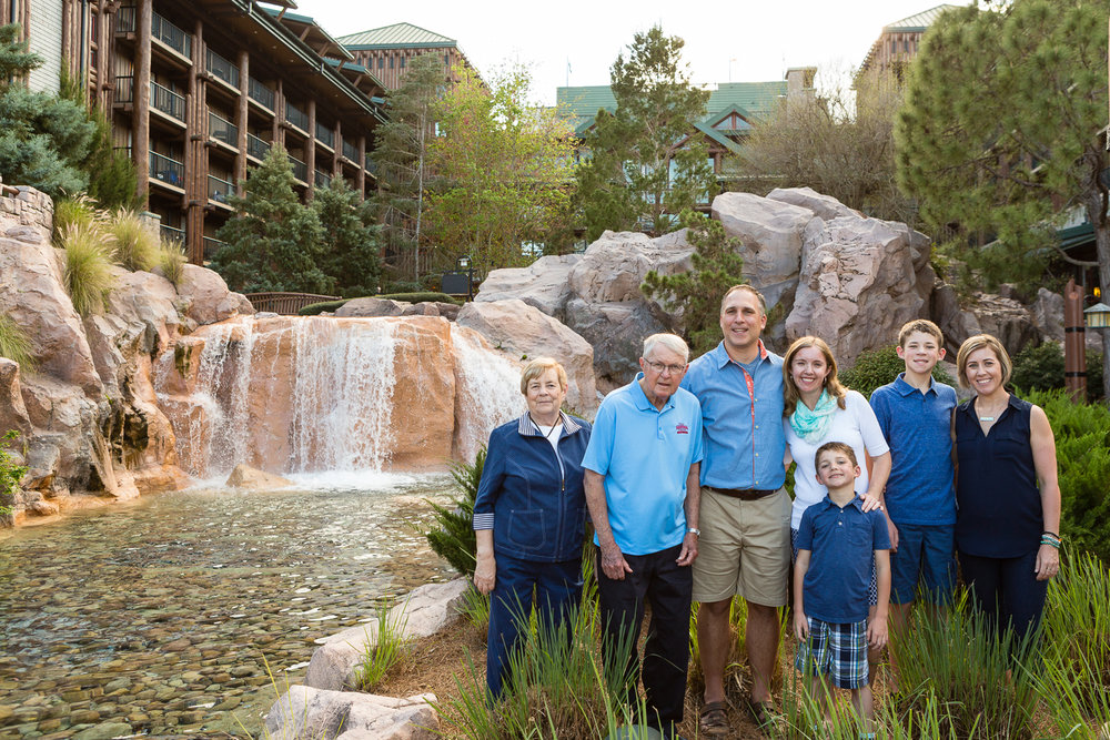 Family photos at Disney's Wilderness Lodge