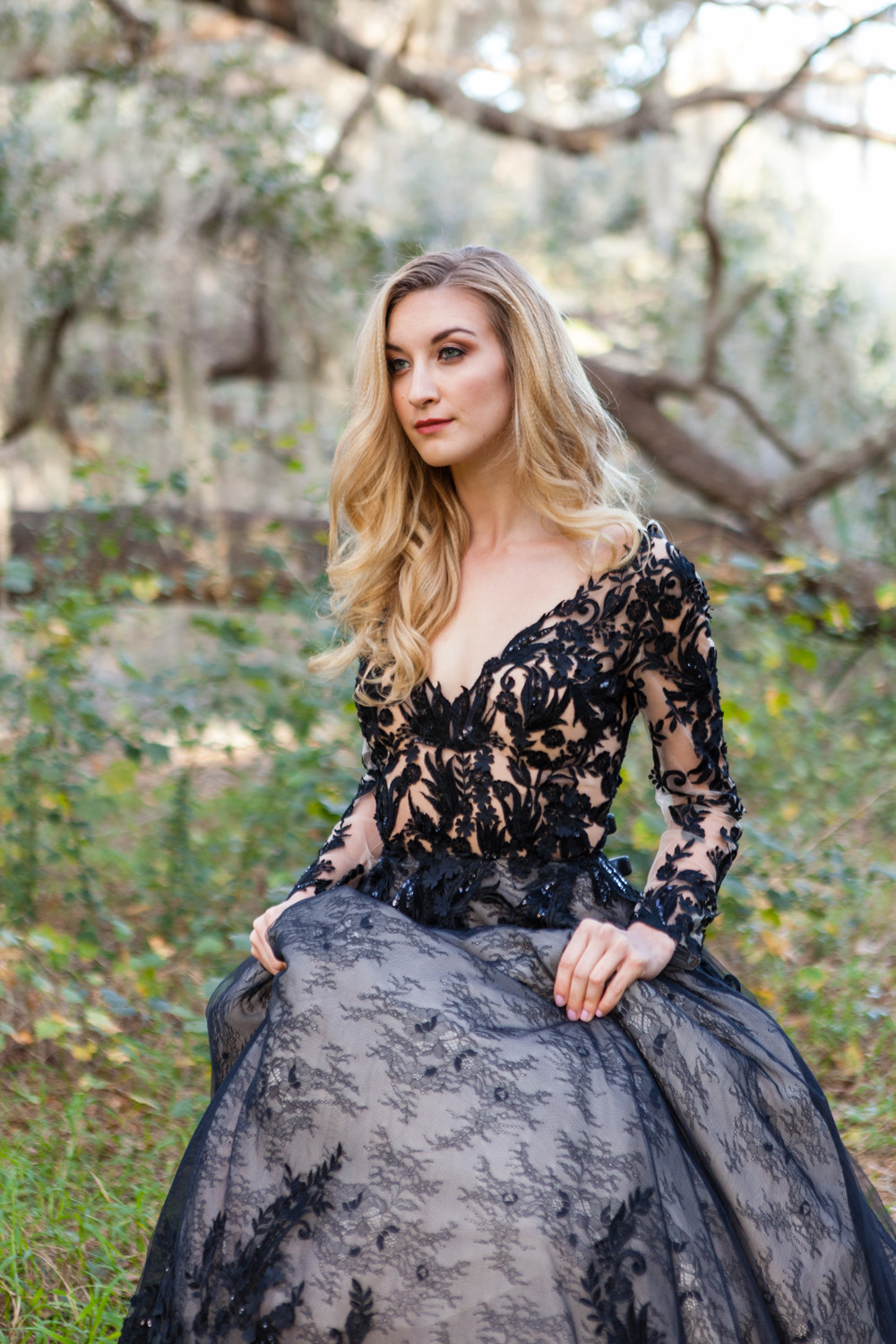 styled shoot with black wedding dress