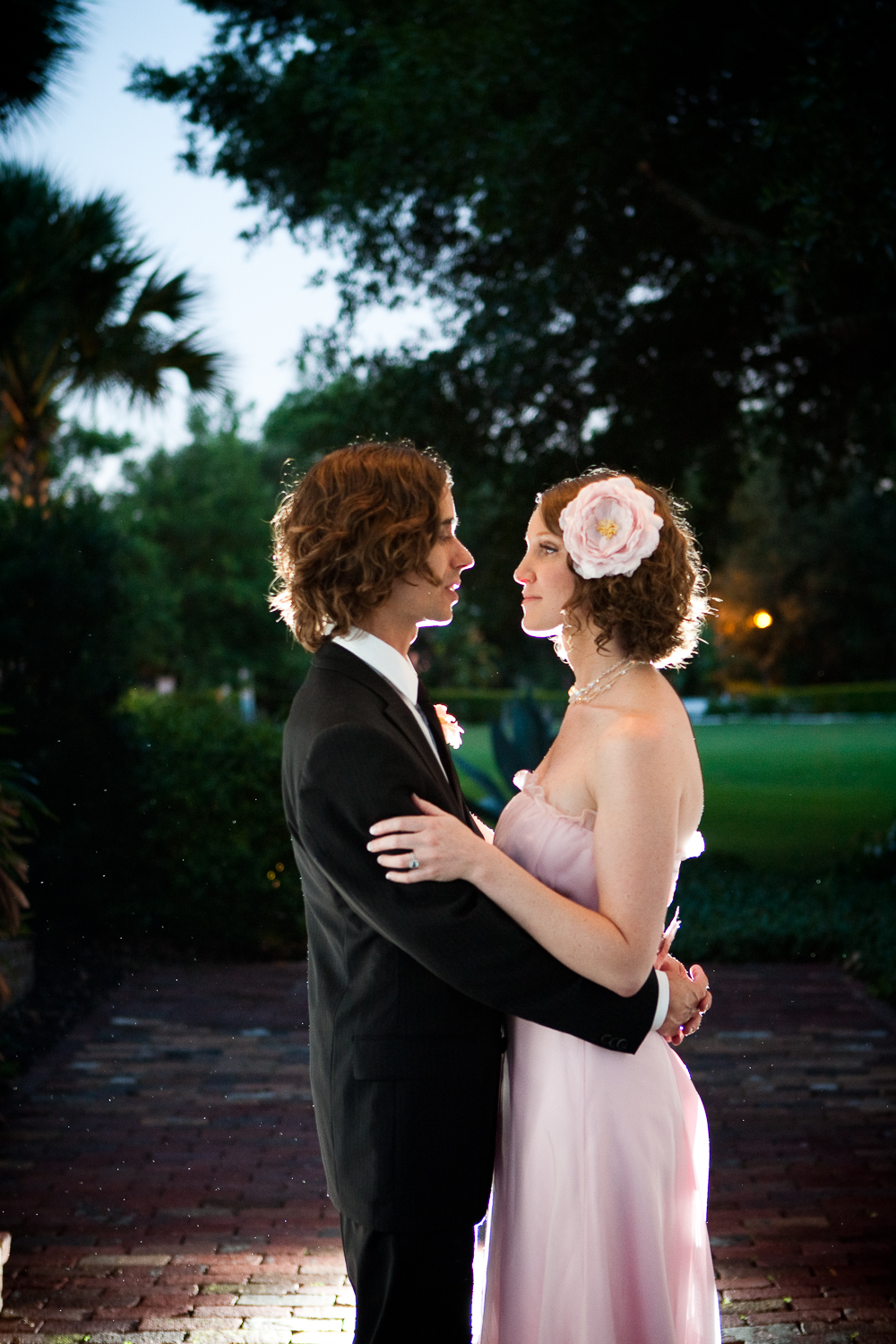 Vintage pink wedding dress at Casa Feliz wedding, Winter Park, Florida