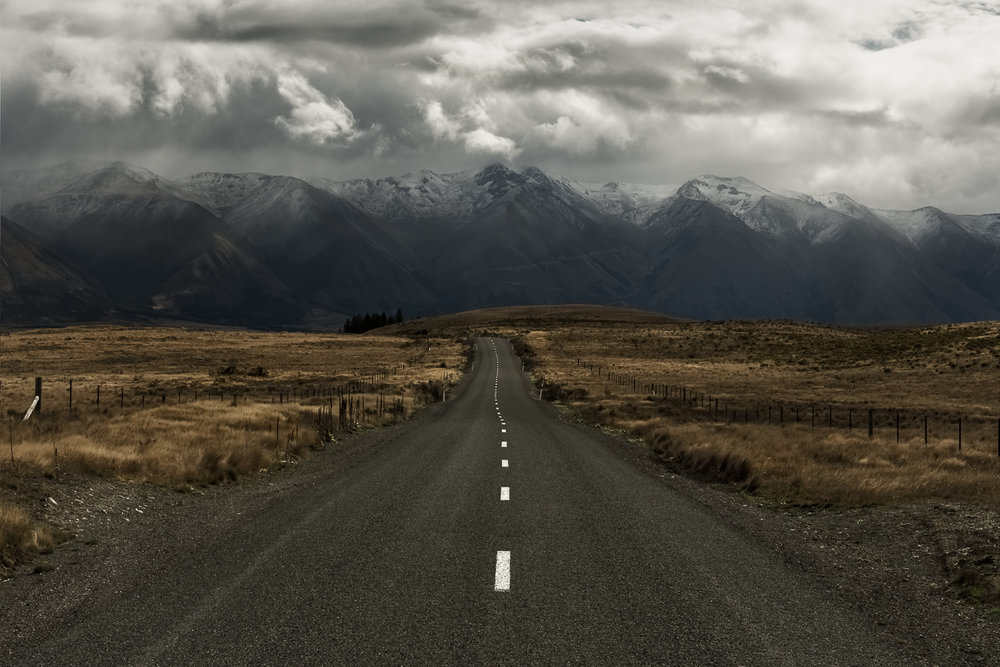 Moody mid-day shot on the road in the South Island of New Zealand. Overcast and rainy days bring mood to your shots all day long.