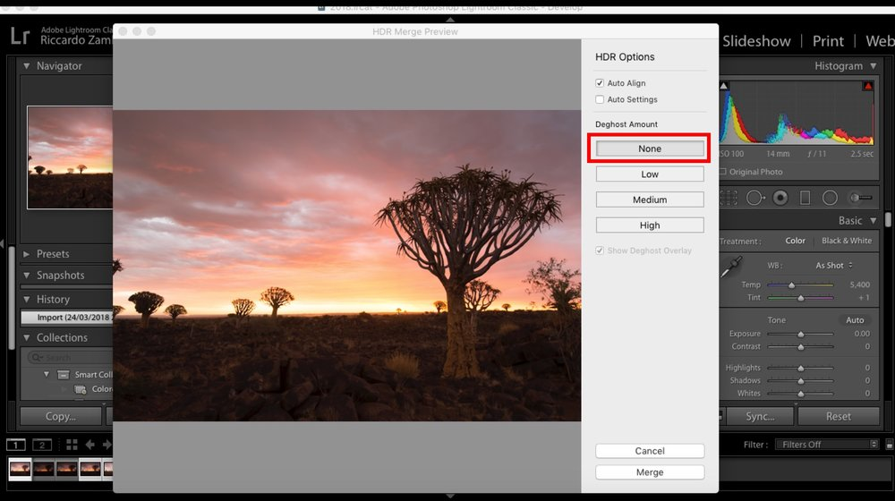 "If you shoot your bracketing series on a tripod, None is the best option to choose in the Deghost Amount panel, as the software won't ""hunt"" for corrections."